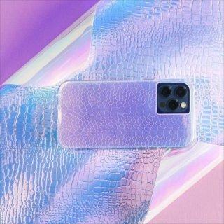 【虹色に輝くスネークスキンスタイルデザイン+抗菌仕様】iPhone 12 / iPhone 12 Pro 共用 Iridescent Snake w/ Micropel
