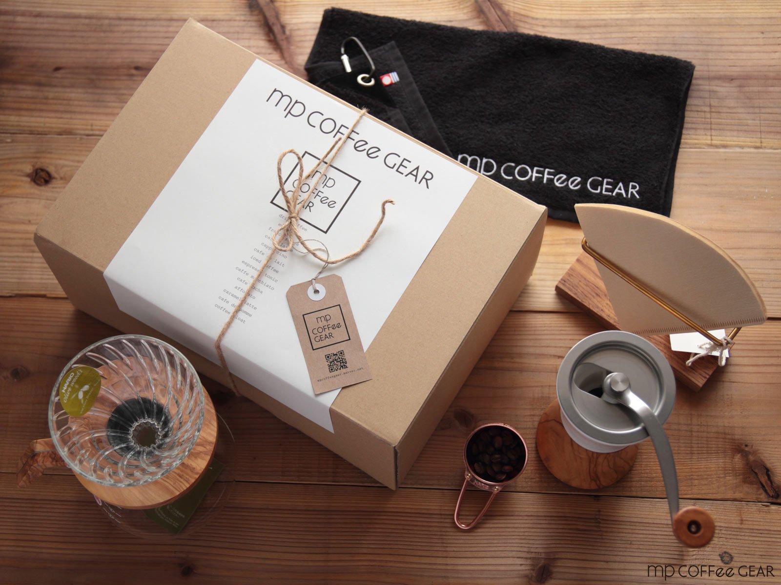 コーヒーギフトBOX HARIO V60・オリーブウッドミル他 7点セット mp COFFee GEAR