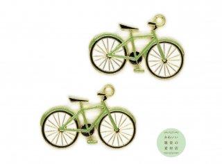 抹茶色のおしゃれな自転車のエナメルチャーム(ゴールド)2個セット