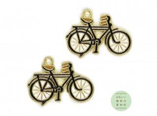 黒いおしゃれな自転車のエナメルチャーム(ゴールド)2個セット