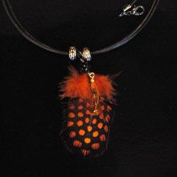天然石付ホロホロ鳥のチョーカ(オレンジ)