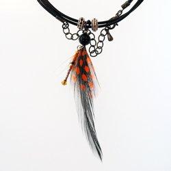 天然石付ホロホロ鳥のチョーカーver2(オレンジ)