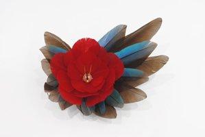 カワセミのヘア&ブローチ(赤)