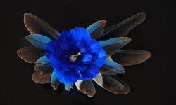 カワセミのヘア&ブローチ(青)