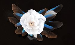 カワセミのヘア&ブローチ(白)