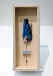 カワセミのピンブローチ(紺)