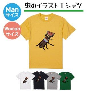 カラフルな虫のイラストTシャツ大人サイズ