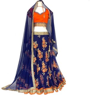 レヘンガ / Lehenga ネイビー x オレンジ ◆◇ インド 民族衣装 ダンス衣装 ボリウッド インドフュージョンダンス インド舞踊