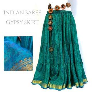 インドサリー ジプシー スカート 12 玉虫色 ◆ 10ヤード シルクサリー ボヘミアン エスニック ファッション