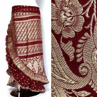 インド シルクサリー アシンメトリー 巻きスカート B1 ◆ シルクサリー ボヘミアン エスニック ジプシー ヴィンテージ ワンピース