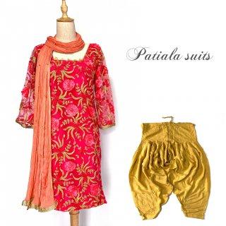 インド民族衣装 パンジャビドレス <フクシアxゴールド> パティアラスーツ ◆ インド舞踊 ヨガ インドダンス ボリウッド インドフュージョン アバヤ ラジャスタン