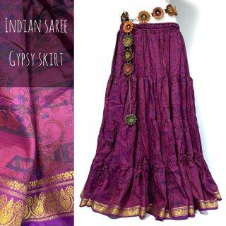 インドサリー ジプシー スカート 24 赤紫 ◆ 10ヤード シルクサリー ボヘミアン エスニック ファッション ベリーダンス インドダンス インド舞踊 インドフュージョン