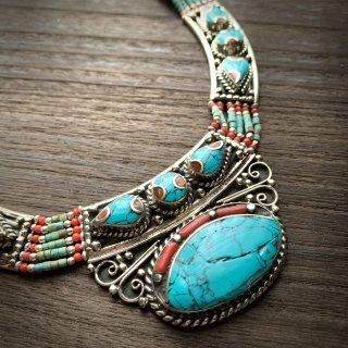 トライバル ネックレス #3 ◆ チベットジュエリー ターコイズ サンゴ ◆ インド 民族アクセサリー