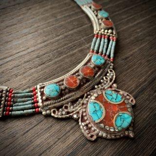 トライバル ネックレス #5 ◆ チベットジュエリー ターコイズ サンゴ ◆ インド 民族衣装 アクセサリー