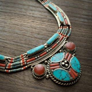 トライバル ネックレス #7 ◆ チベットジュエリー ターコイズ サンゴ ◆ インド アクセサリー