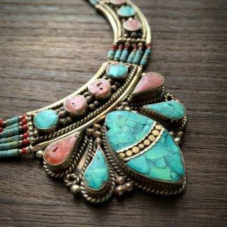 トライバル ネックレス #9 ◆ チベットジュエリー ターコイズ サンゴ ◆ インド アクセサリー