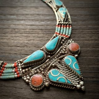 トライバル ネックレス #10 ◆ チベットジュエリー ターコイズ サンゴ ◆ インド アクセサリー