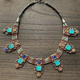 トライバル ネックレス #11 ◆ チベットジュエリー ターコイズ サンゴ ◆ インド アクセサリー