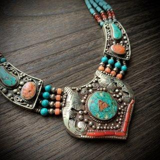 トライバル ネックレス #12 ◆ チベットジュエリー ターコイズ サンゴ ◆ インド アクセサリー