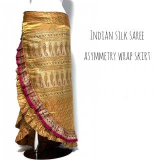 インド シルクサリー アシンメトリー 巻きスカート B2 ◆ シルクサリー ボヘミアン エスニック ジプシー ヴィンテージ ワンピース