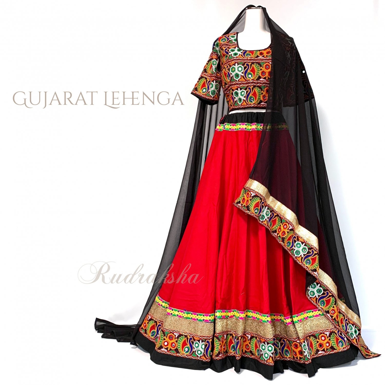 Rajasthani Lehenga <レッドxブラック> ◇◆ インド 民族衣装 ラジャスタン レヘンガ