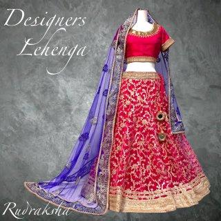 レヘンガ / Lehenga マゼンダ x ブルー ◆◇ インド 民族衣装 ダンス衣装