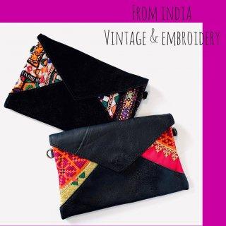 本革 x vintageカッチ刺繍 2wayバッグ ◆◇ 砂漠の民*民族アート・伝統工芸品
