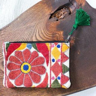 インド刺繍ポーチ〈カシミール  #1〉◆ハンドメイド