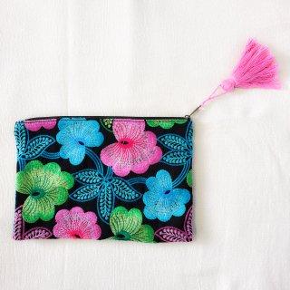 インド カシミール刺繍のポーチ/クラッチバッグ#2◆ハンドメイド