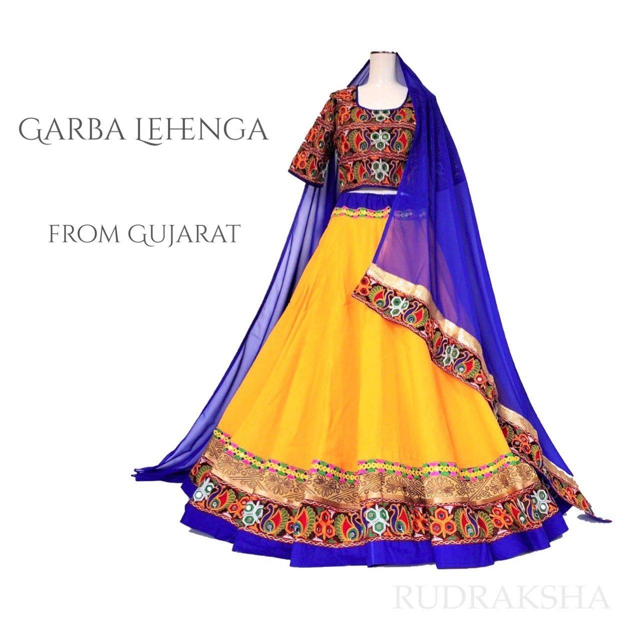 Rajasthani Lehenga <ロイヤルブルーxイエロー> ◇◆ インド 民族衣装 ラジャスタン レヘンガ