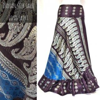 インドシルクサリー 裾フリル ロングスカート #7 Tribal skirt
