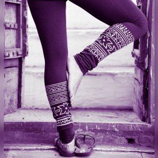 ブロックプリント12分丈レギンス オーガニックコットン《パープル》 ◆◇Tribal block print leggings
