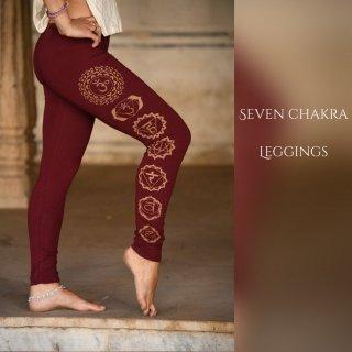 チャクラプリント 12分丈レギンス オーガニックコットン《ワインレッド》◆◇7 chakra gold print leggings