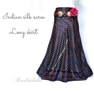 インドシルクサリー 裾フリル ロングスカート #8 Tribal skirt