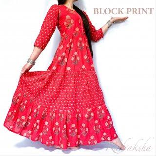 Block print dress cotton100% ◆ブロックプリント マキシ丈ワンピース<レッド>◆フラワー刺し子エスニックボヘミアン