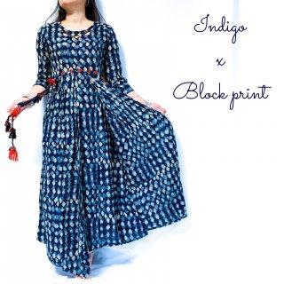 Indigo Block print dress cotton100%◆藍染めブロックプリント マキシ丈ワンピース<インディゴブルー>◆インド刺し子ワークエスニックボヘミアン