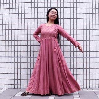 Jaipuri  Anarkali dress ◆マキシ丈ワンピース<スモーキーピンクxゴールド>◆刺し子エスニックボヘミアン
