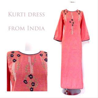 Khadi Cotton - Kurti dress ◆カディマキシ丈ワンピース◇ボヘミアン