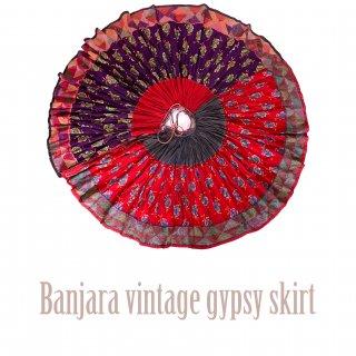 Banjara gypsy skirt #6 vintage * バンジャラスカート《レッドxパープル》フルサーキュラー