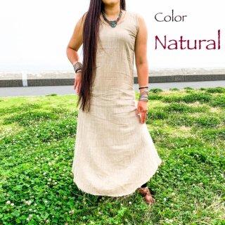 インド手紡ぎ手織りカディコットン◇マキシワンピース◆<ナチュラル>