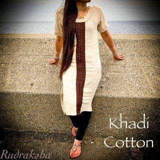 インド手紡ぎ手織りカディコットン◇サイドスリットワンピース◆<ナチュラル>