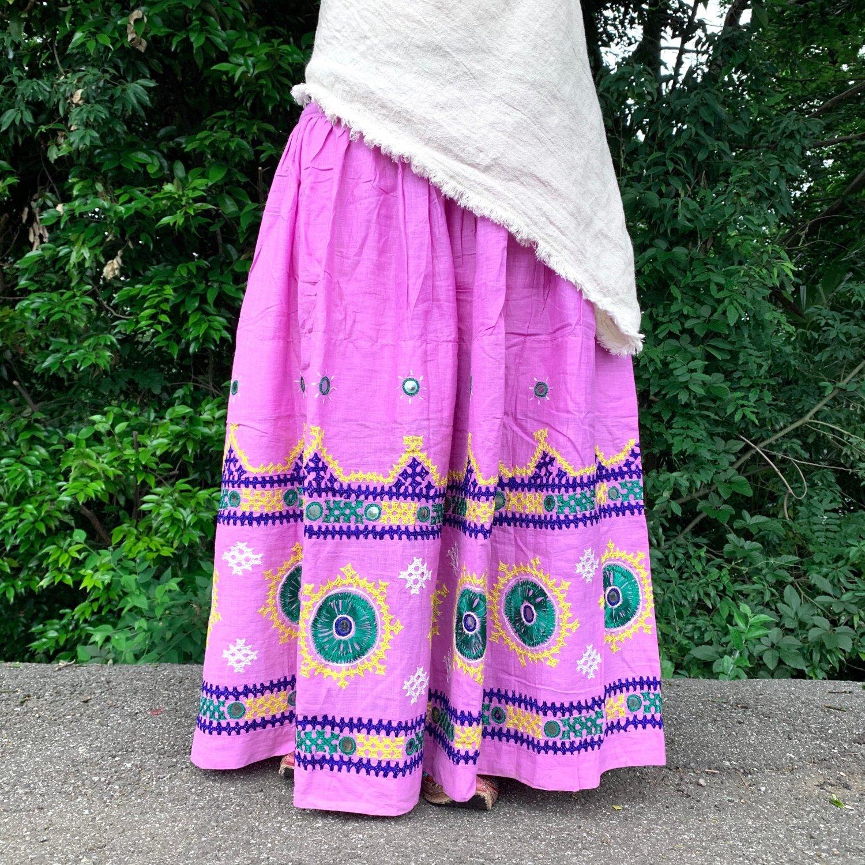カッチ刺繍ジプシースカート#28 *Kutch gypsy skirt◆vintage◆ミラーワークャラ《ラベンダー》