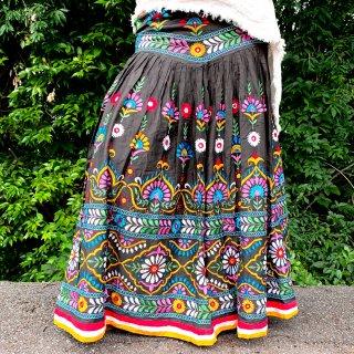 カッチ刺繍ジプシースカート#29 *Kutch gypsy skirt◆vintage◆ラバリ族《ダークグレー》