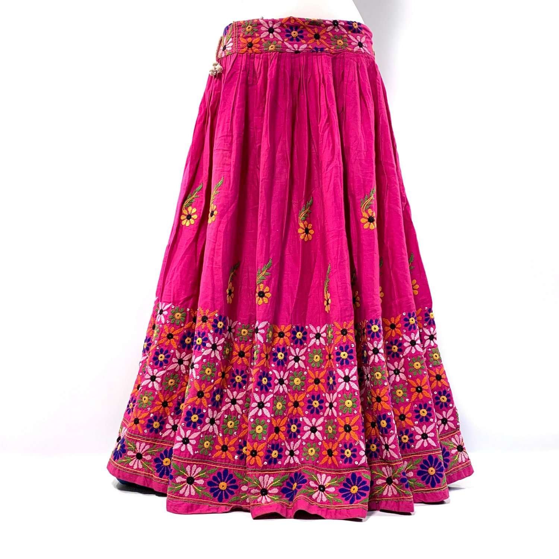 カッチ刺繍ジプシースカート#34 *Kutch gypsy skirt◆vintage◆バンジャラ《ピンク》