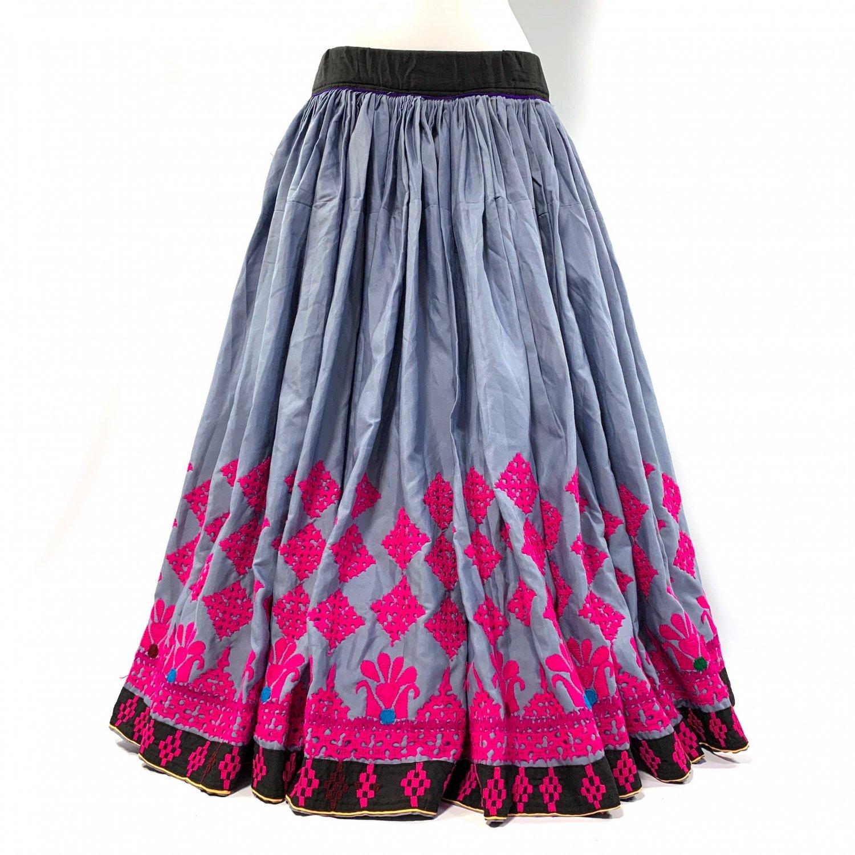 カッチ刺繍ジプシースカート#36 *Kutch gypsy skirt◆vintage◆バンジャラ《グレー》