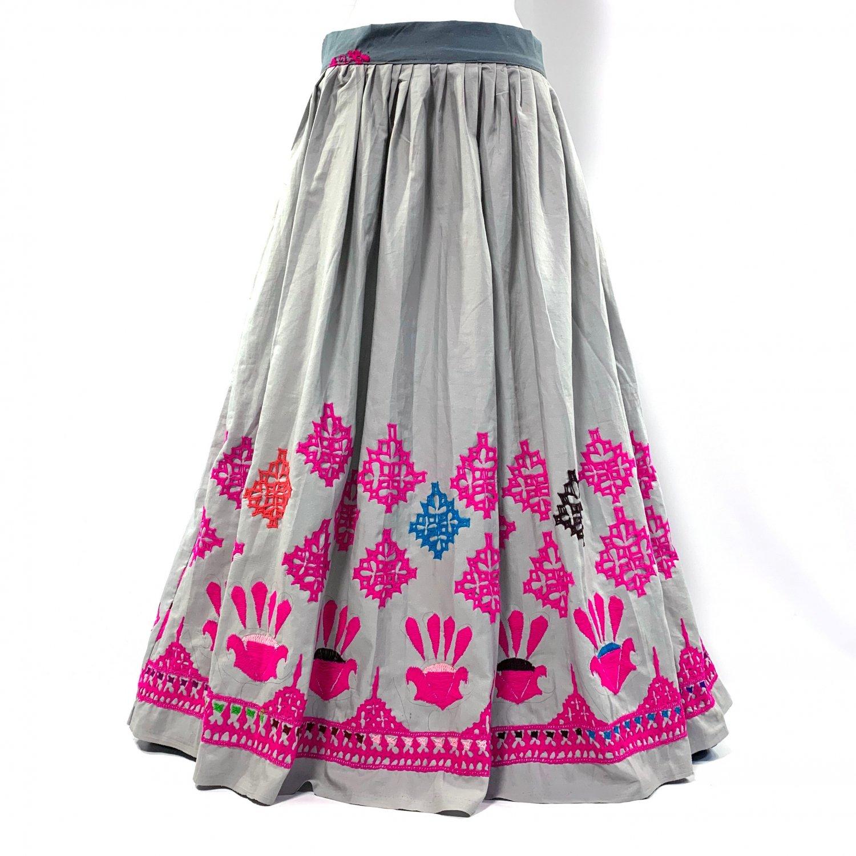 カッチ刺繍ジプシースカート#37 *Kutch gypsy skirt◆vintage◆バンジャラ《グレー》