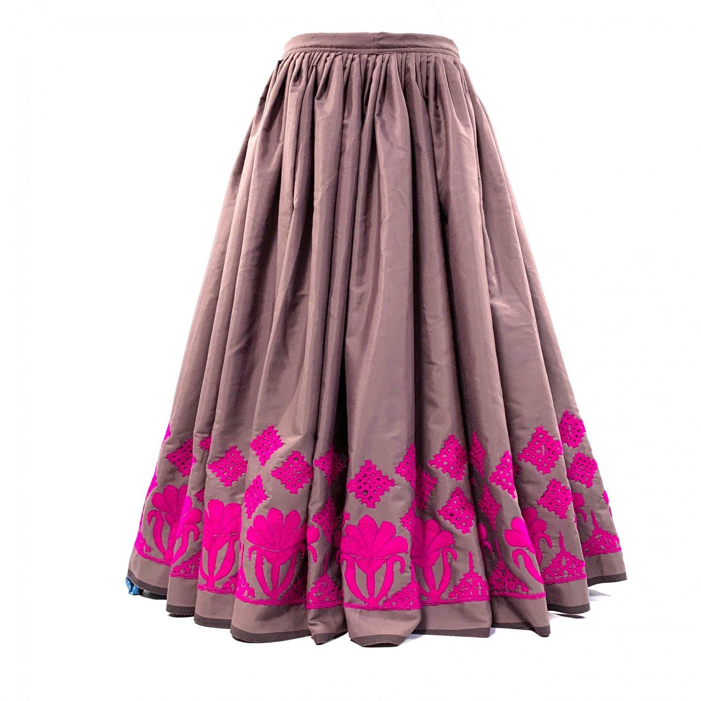 カッチ刺繍ジプシースカート#38 *Kutch gypsy skirt◆vintage◆バンジャラ《ココア》