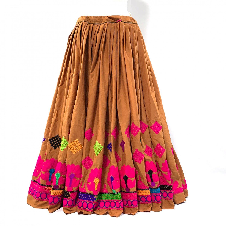 Kutch gypsy skirt #40 *vintage * カッチ刺繍スカート バンジャラ《オーカー》