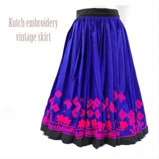 Kutch gypsy skirt #45 *vintage * カッチ刺繍スカート バンジャラ《ロイヤルブルー2》