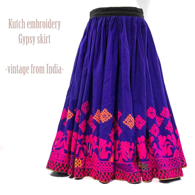Kutch gypsy skirt #48 *vintage * カッチ刺繍スカート バンジャラ《ロイヤルブルー4》